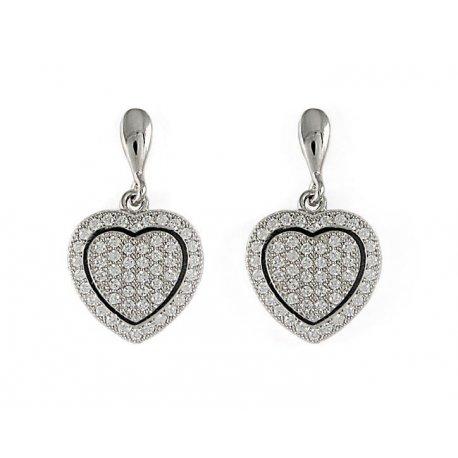 Серьги женские серебряные 925* родий цирконий Арт 115 068
