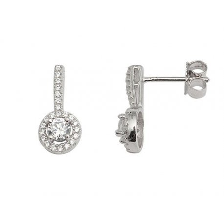 Серьги женские серебряные 925* родий цирконий Арт 115 092