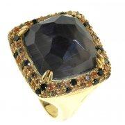 Кольцо женское серебряное 925* позолота кошачий глаз цирконий Арт55 2583А