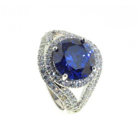 Кольцо женское серебряное 925* родий цирконий Арт 15 5462А