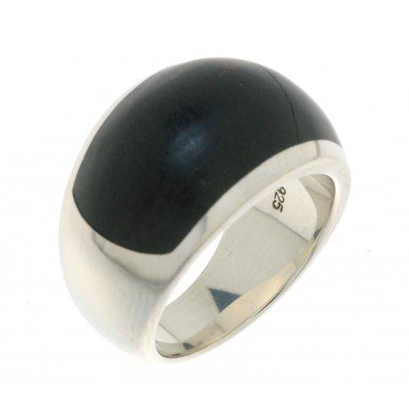 Кольцо женское серебряное 925* дерево эбеновое родий Арт 15 2 2628