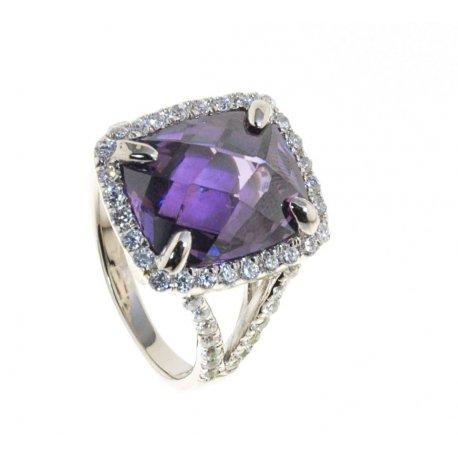 Кольцо женское серебряное 925* родий цирконий Арт 15 5534А