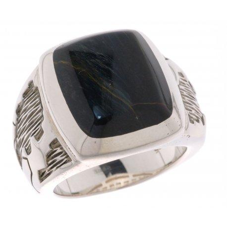 Кольцо мужское серебряное 925* родий соколиный глаз Арт 15 2 3109