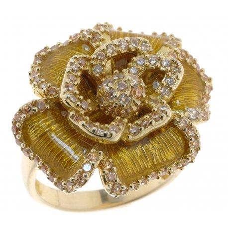 Кольцо женское серебряное 925* позолота цирконий эмаль Арт 55 2151А