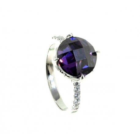 Кольцо женское серебряное 925* родий цирконий Арт 15 5540А