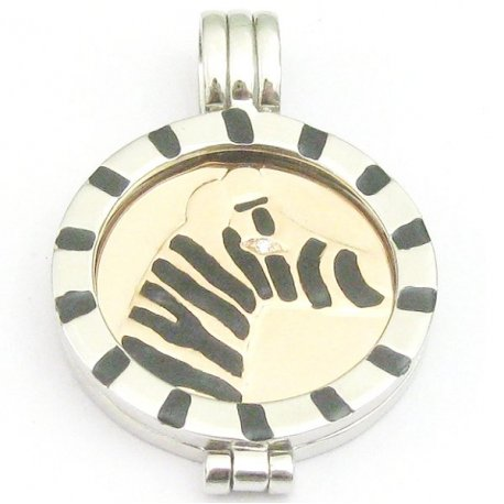 Підвіс срібний 925* позолота родій емаль Арт 53 6053