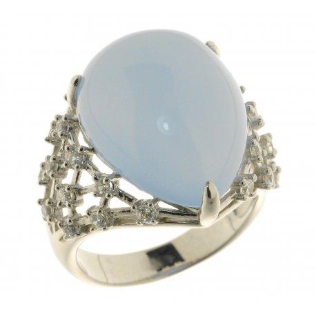 Кольцо женское серебряное 925* родий кристалл циркон Арт 15 5675