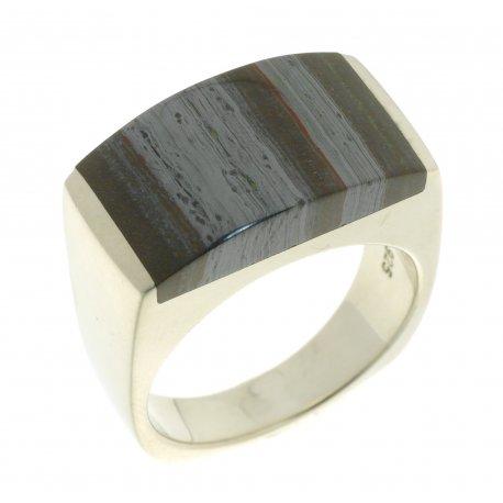 Кольцо женское серебряное 925* родий тигровый глаз Арт 15 2 3668