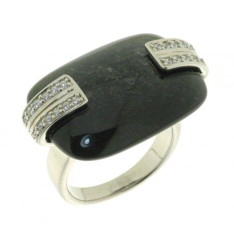 Кольцо женское серебряное 925* родий обсидиан циркон Арт 15 5339