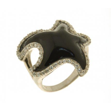 Кольцо женское серебряное 925* родий цирконий эмаль Арт 15 2315