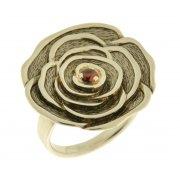 Кольцо женское серебряное 925* родий чернение гранат Арт 15 2 3003