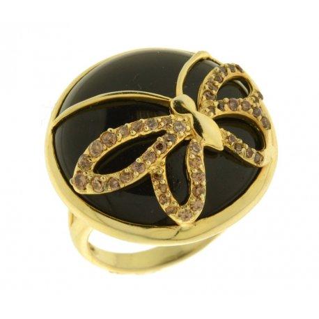 Кольцо женское серебряное 925* позолота вулкан. стекло цирконий Арт 55 4621