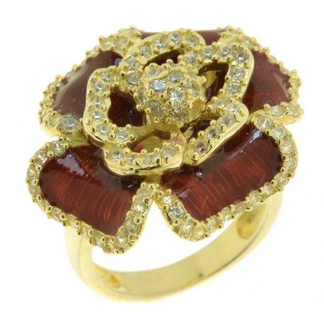 Кольцо женское серебряное 925* позолота цирконий эмаль Арт55 2151Ак