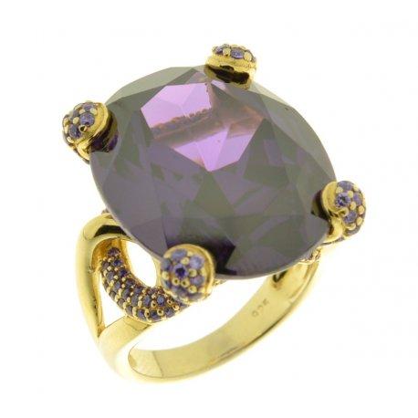 Кольцо женское серебряное 925* позолота цирконий Арт 55 4759А