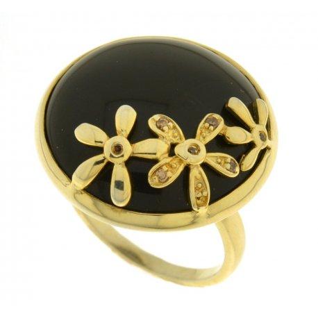 Кольцо женское серебряное 925* позолота вулкан. стекло цирконий Арт 55 4623А