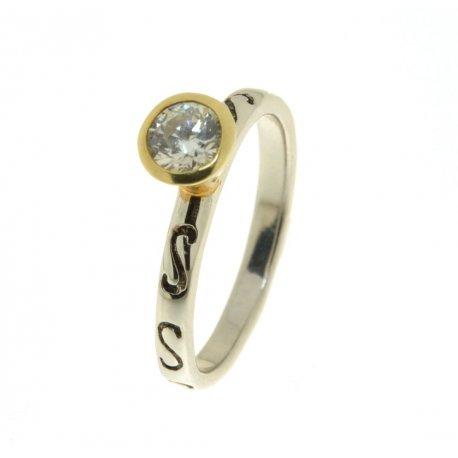 Кольцо женское серебряное 925* родий цирконий Арт 223 055