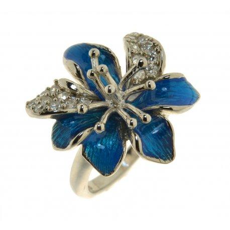 Кольцо женское серебряное 925* родий цирконий эмаль Арт 15 4257с