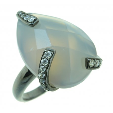 Кольцо женское серебряное 925* чернение цирконий агат Арт 15 2782А