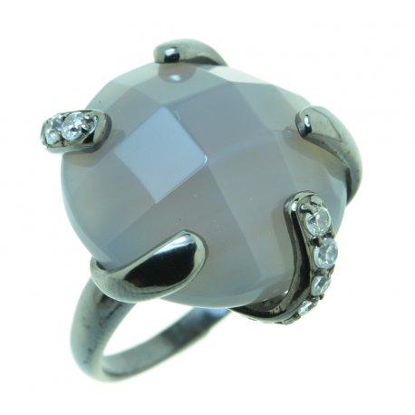 Кольцо женское серебряное 925* чернение цирконий агат Арт 15 2784А