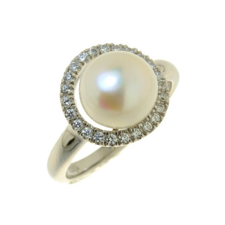 Кольцо женское серебряное 925* родий цирконий жемчуг Арт 15 4488