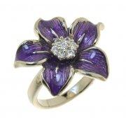 Кольцо женское серебряное 925* родий цирконий эмаль Арт 15 2157В