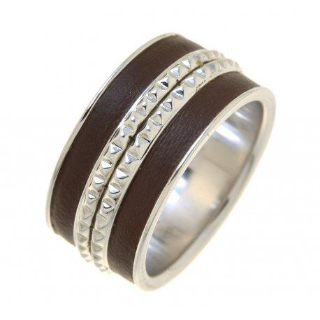 Кольцо мужское серебряное 925* родий коричневая кожа Арт 15 2 3214