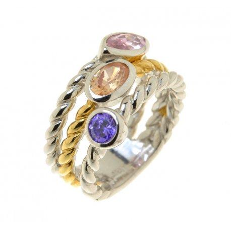 Кольцо женское серебряное 925* родий цирконий Арт 55 5303