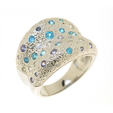 Кольцо женское серебряное 925* родий цирконий Арт 15 3 497007