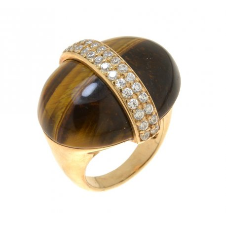 Кольцо женское серебряное 925* позолота тигровый глаз цирконий Арт55 4741А