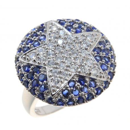 Кольцо женское серебряное 925* родий цирконий Арт 15 3 49002