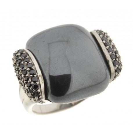 Кольцо женское серебряное 925* родий цирконий гематит Арт 15 3788