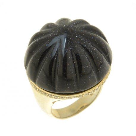 Кольцо женское серебряное 925* позолота авантюрин циркон Арт 55 4726