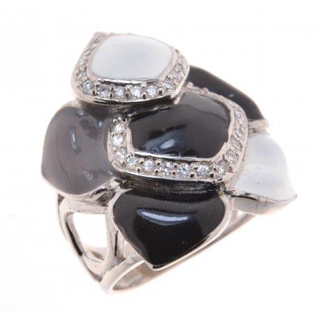 Кольцо женское серебряное 925* родий цирконий эмаль Арт 15 4636