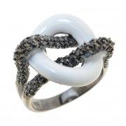 Кольцо женское серебряное 925* чернение цирконий эмаль Арт 15 2308А