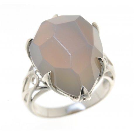 Кольцо женское серебряное 925* родий серый агат Арт 15 2758В