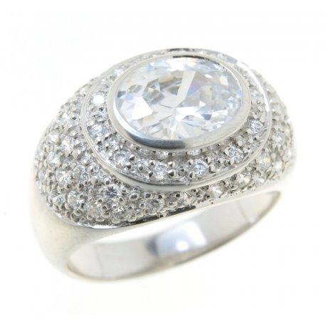Кольцо женское серебряное 925* родий цирконий Арт 150 185