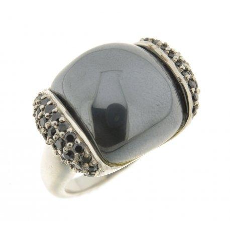 Кольцо женское серебряное 925* родий цирконий гематит Арт 15 3787