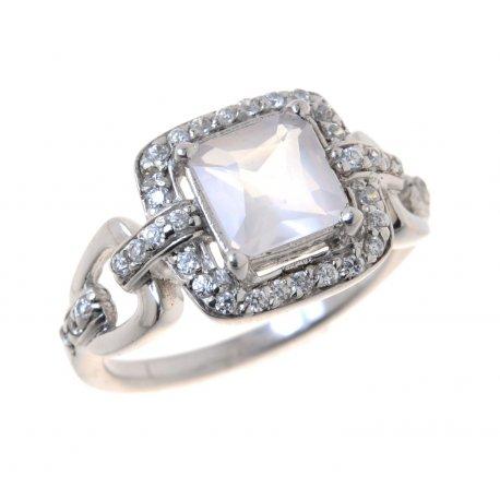 Кольцо женское серебряное 925* родий цирконий Арт 150 1183