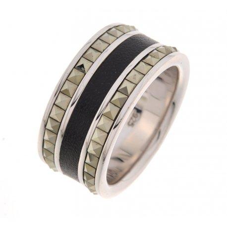 Кольцо мужское серебряное 925* родий марказит кожа Арт 15 2 3217