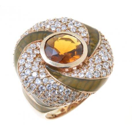Кольцо женское серебряное 925* позолота цирконий эмаль Арт 55 1572А