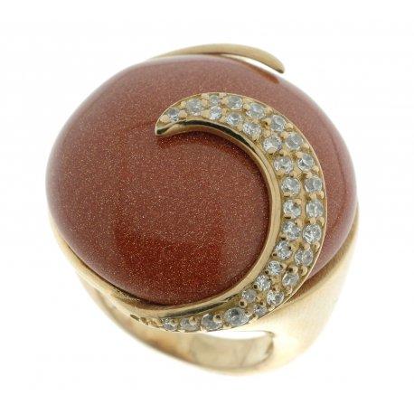 Кольцо женское серебряное 925* позолота авантюрин циркон Арт 55 2982