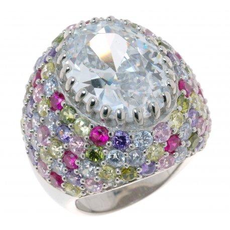 Кольцо женское серебряное 925* родий цирконий Арт 15 2339