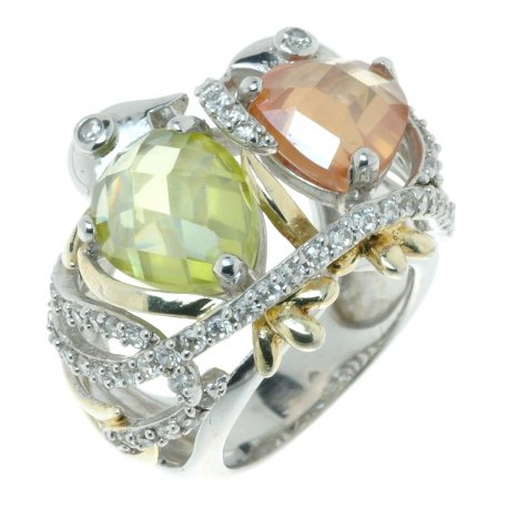 Кольцо женское серебряное 925* родий цирконий Арт 15 1794А