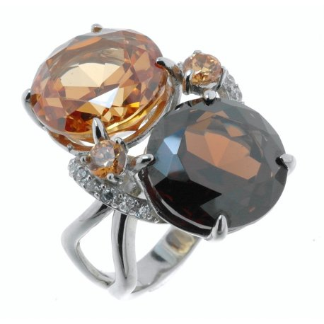 Кольцо женское серебряное 925* родий цирконий Арт 15 2806