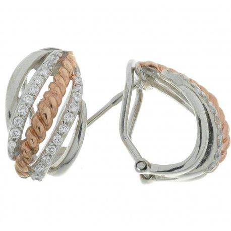 Серьги женские серебряные 925* родий позолота циркон Арт 11 5041