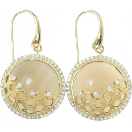 Серьги женские серебряные 925 * позолота цирконий агат Арт 51 5444А-Х