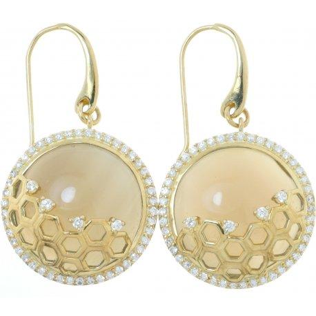 Сережки жіночі срібні 925 * позолота цирконій агат Арт 51 5444А-Х