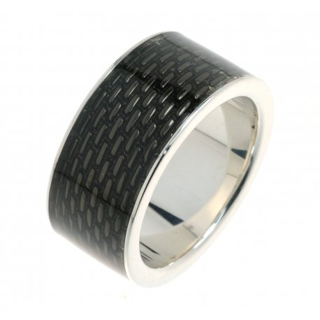 Кольцо мужское серебряное 925* родий чернение эмаль Арт 15 2 3194