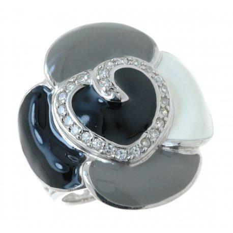 Кольцо женское серебряное 925* родий цирконий эмаль Арт 15 4637