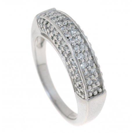 Кольцо женское серебряное 925* родий цирконий Арт 150 1102